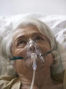 Patient wearing respirator